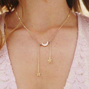 Gold Tone Moon And Dangling Stars Necklace